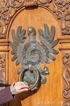 Antique Door With Knocker In The Shape Of An Eagle Stock Photo - Image of enter, home: 35046388 Antique Door Knockers, Door Knockers Unique, Door Knobs And Knockers, Antique Door Knobs, Antique Doors, Door Detail, Cool Doors, Door Accessories, Door Furniture
