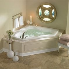 20 Beautiful and Relaxing whirlpool tub designs whirlpool tub in your bathroom is huge advertising points that can dramatically increase the return on your upgrade. Please check out our 20 Beautiful and Relaxing whirlpool tub designs. Jacuzzi Tub Decor, Corner Jacuzzi Tub, Corner Bathtub Shower, Jacuzzi Bathtub, Corner Tub, Small Bathtub, Small Bathrooms, Bathtubs, Bathtub With Jets