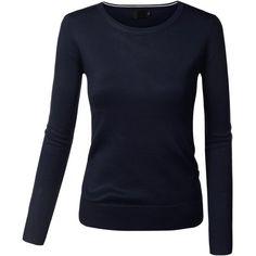 BIADANI Women Long Sleeve Turtleneck/V-Neck/Crewneck Pullover Sweaters ($5.50) ❤ liked on Polyvore featuring tops, sweaters, long sleeve pullover sweater, v-neck pullover sweater, turtle neck sweater, blue turtleneck and blue turtleneck sweater