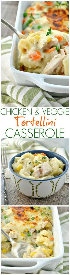 This Chicken and Veggie Tortellini Casserole is a family-friendly way to get a wholesome and comforting one dish meal on the table fast. Its a perfectly creamy, cheesy easy dinner recipe!