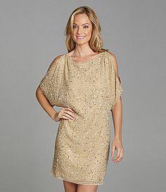 Marina Sequin ColdShoulder Dress #Dillards