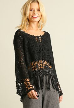 Knit Crochet Top with Fringe Hemline