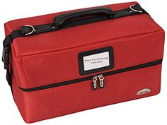 Craft Accents 2-Tiers Accordion Trays Soft-Sided Professional Makeup Case, Red, 112 Ounce * You can find out more details at the link of the image.