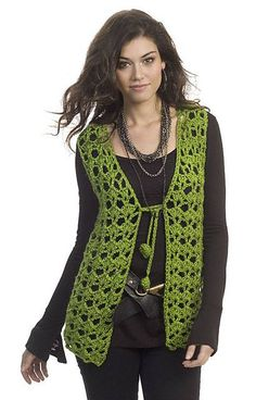 Mary Kate Vest from Yarnspirations - Have yourself a groovy little Christmas with this Holiday Hippie Vest Pattern. This Free Crochet Vest Pattern has a inspired look. Crochet Waistcoat, Gilet Crochet, Crochet Vest Pattern, Crochet Jacket, Crochet Cardigan, Crochet Shawl, Knit Crochet, Crochet Patterns, Free Pattern