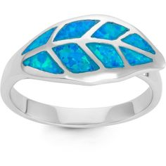 La Preciosa Sterling Silver Blue Opal Leaf Ring ($32) ❤ liked on Polyvore featuring jewelry, rings, blue, blue opal ring, blue ring, wide band rings, sterling silver rings and opal jewelry