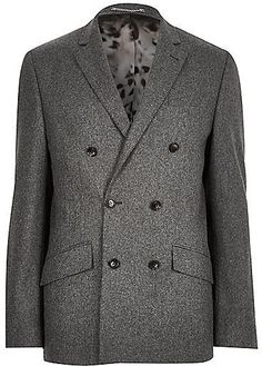 $260, River Island Grey Wool Blend Double Breasted Suit Jacket. Sold by River Island. Click for more info: https://lookastic.com/men/shop_items/336897/redirect