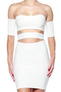 Off Shoulder Knit Cut Out Strapless Dress - White - FINAL SALE