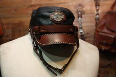 nice hand made biker cap Harley Davidson Hats 2a2f1f3a0d