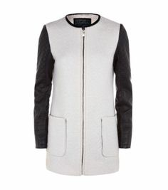 Cream Contrast Sleeve Collarless Coat Mens Winter Coat, New Look, Motorcycle Jacket, Shop Now, Contrast, Sleeves, Jackets, Clothes, Shopping