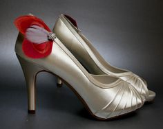 Wedding Shoes Ivory Peeptoes with Crimson by DesignYourPedestal