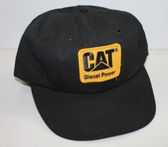CAT Diesel Power Patch Truck Hat Snapback Black Vintage 7712f1d42