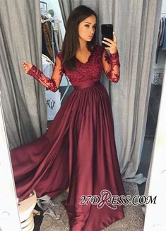 Maroon Burgundy Long Sleeve 2018 Prom Dress Lace With Split_2018 Prom Dresses_Prom Dresses_Special Occasion Dresses_High Quality Wedding Dresses, Prom Dresses, Evening Dresses, Bridesmaid Dresses, Homecoming Dress - 27DRESS.COM