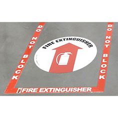 Vinyl and 17.5 Sign Fire Extinguisher Floor Marking Kit 3 pc Red Bkgd//White Border 2 Incl