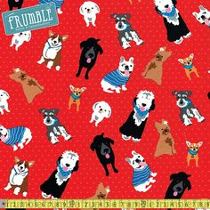 Must Love Dogs Dogs On Dots Red Fabric by Ginger Oliphant for Studioe Fabrics - One Fat Quarter Red Fabric, Cotton Fabric, Fabulous Dresses, Shades Of Blue, Accent Decor, Printing On Fabric, Dots, Snoopy, Kids Rugs