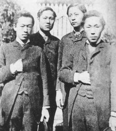 Pak Yong-hyo, So Kwang-bom, So Chae-pil (Philip Jaisohn) and Kim Ok-kyun (left to right) in Japan in early 1885, after fleeing Korea following the failed coup d'etat.