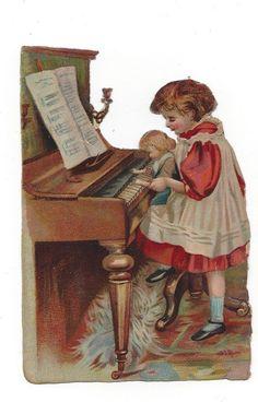 Victorian Die Cut Scrap Girl teaching Doll to play Piano picclick.com