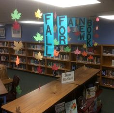#library fall bulletin board idea, #fall library display, # Fall Leaves, #fall for a new book