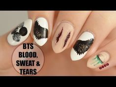 Blood, Sweat & Tears Inspired Nail Art What a hell? This is Amazing K Pop Nails, Cute Nails, Pretty Nails, Hair And Nails, Nail Art Hacks, Easy Nail Art, Army Nails, Bts Blood Sweat Tears, Jolie Nail Art