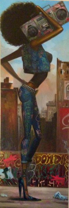 Ideas For Black Art Painting Woman Frank Morrison Black Art Painting, Black Artwork, Cool Artwork, Music Painting, African American Art, African Art, Frank Morrison Art, Natural Hair Art, Hip Hop Art