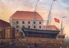 In 1805, Johann Lange founded a shipyard in Bremen, which built over 300 ships before its closure. Among these was Germany's first steamboat, Die Weser, launched in 1817.   Below is Lange's yard in 1837, with the brig Emmy under construction.