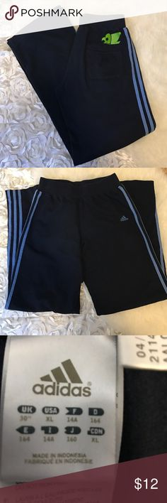 """🌀ADIDAS🌀 Pre❤️'d in good condition. Tag says XL, but I'm guessing it's junior size. I'm 5""""4 and fits Adidas Pants Track Pants & Joggers"""