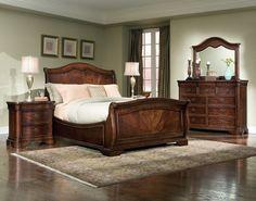 Wonderful Cherry Brown Sleigh Bedroom Sets Whtie Bedding Interior Design And Brown Wooden Flooring In Style - Various Bedroom Design Ideas