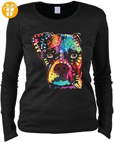 Neon Damen Langarm-Shirt - Bunter Hund - Boxer Postmodern - Motivshirt humorvolle Geschenk Idee Aufdruck Hundefreunde, Größe:L (*Partner-Link)
