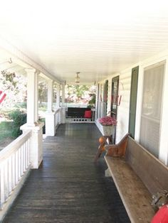 Front porch columns and ceiling