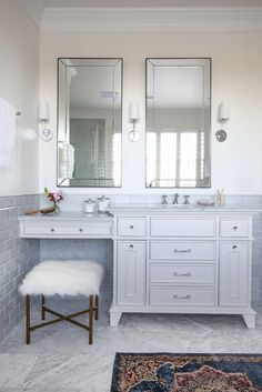 Get inspired by Traditional Bathroom Design photo by Sarah Stacey Interior Design. Wayfair lets you find the designer products in the photo and get ideas from thousands of other Traditional Bathroom Design photos. Luxury Bathroom Vanities, Master Bathroom Vanity, Bathroom With Makeup Vanity, Bathroom Styling, Vanity With Sink, Bathroom Double Sink Vanities, Master Baths, Glass Bathroom, Basement Bathroom