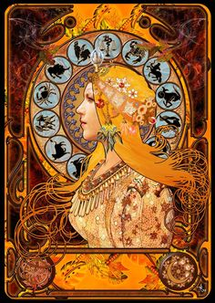 art nouveau zodiac  I wonder who this is by, I must research... for although it is quite similar to the Mucha, it is not the same (I have the Mucha print on my wall)