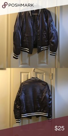 Grey Satin Bomber Cute grey satiny bomber from Charlotte Russe. Perfect condition. Charlotte Russe Jackets & Coats