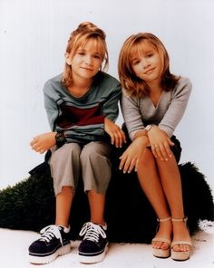 Mary-Kate Olsen(left) & Ashley Olsen(right). Photo shoot for Two Of A Kind 1998