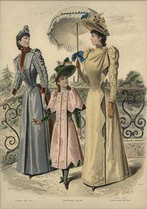 Original Hand Colored Engraving Revue Mode 1890's