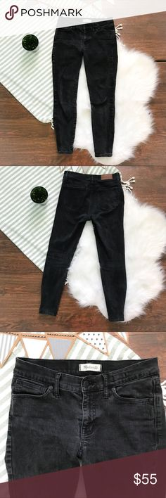 Black Madewell Skinny Skinny Jeans 27 Madewell faded black skinny skinny jeans. GUC. Nothing wrong with them. Super cute! Size 27. Feel free to ask questions or make an offer!                 Approximate measurements laid flat:                         Length: 34.                                                               Inseam: 25.                                                                    Rise 8.5 Madewell Pants Skinny