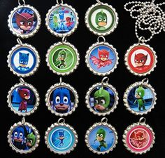 15 PJ MASKS Flat Bottle Cap Necklaces for Birthday, Party Favors, Bag Fillers -- Read more at the image link.