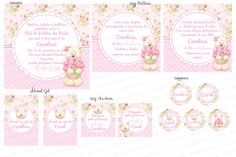 Kit Digital Ursinha Rosa Floral - Charme Papeteria