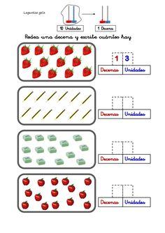 Laguntza gela  Rodea una decena y escribe cuántos hay.  10 Unidades  1 Decena  1  Decenas  Unidades  3  Unidades  Decenas ...