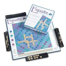 Players use tiles to form vertical or horizontal math equations-requires computing and thinking strategically, critically and creatively. Earn higher scores using division or fraction tiles and landing on premium board positions. Equate includes 190 number and operation tiles, four tile racks and rules booklet. 2 to 4 players or teams. Invented by a veteran math teacher!