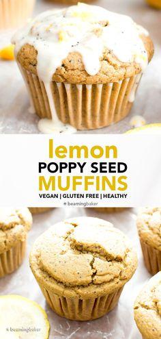Vegan Lemon Poppy Seed Muffins (Gluten Free): an easy recipe for moist 'n fluffy vegan lemon poppy seed muffins—perfectly sweet 'n tart! Gluten Free. #Vegan #Lemon #PoppySeed #GlutenFree #Muffins   Recipe at BeamingBaker.com Vegan Gluten Free Desserts, Coconut Desserts, Gluten Free Muffins, Gluten Free Treats, Vegan Treats, Gluten Free Baking, Dairy Free Recipes, Vegan Food, Vegan Recipes
