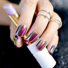 24 Pieces STILETTO Shape Fake Nails Sky Blue Love Beach Love Summer Glitter Pointed Ladies Press On Designed Nail Tips >>> Visit the image link more details. (This is an affiliate link) Rose Gold Nails, Matte Nails, Gel Nails, Stiletto Nails, Coffin Nails, Solid Color Nails, Nail Colors, Fancy Nails, Pretty Nails