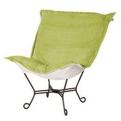Howard Elliott Mojo Kiwi Mahogany Frame Scroll Puff Chair