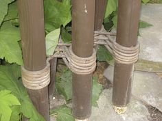 Alvar Aalto column detail of multiple columns tied with rope at the Villa Mairea, Noormakku, Finland, 1938-39.