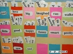Tired word wall where kids go grab synonyms to use in their writing instead of the tired words... love it!