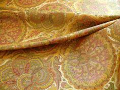 "100% SILK LAMPAS FLORAL KALEIDOSCOPE ""JEWEL"" GOLD"