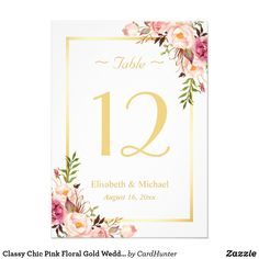 Classy Chic Pink Floral Gold Wedding Table Number Elegant Chic Pink Floral Gold Wedding Table Number Card. (1) Please customize this template one by one (e.g, from number 1 to xx) , and add each number card separately to your cart. (2) All text style, colors, sizes can be modified to fit your needs. (3) If you need any customization or matching items, please feel free to contact me.