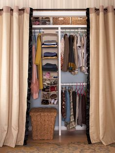"A typical closet comes with a shelf and a rod. Carpenter Eric Stromer from TLC's Clean Sweep suggests installing a ""T"" divider to upgrade the closet's efficiency. This will separate it into two compartments -- one for long items and one with two rods for shorter items (hang double rods at least 36 inches apart)."