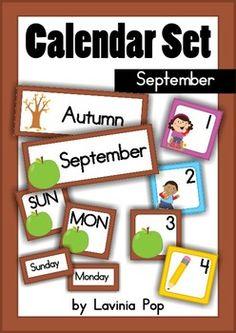 Calendar+Cards+Set+-+September This+packet+includes: Month+card:+September Season+cards:+Summer+and+Autumn+/+Fall Days+of+the+Week:+Sunday+-+Satur. Preschool Rules, Kindergarten Math, Fun Math, Math Games, Teaching Calendar, Calendar Numbers, Classroom Organization, Classroom Ideas, Calendar Time