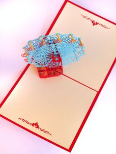 Pirate Ship Popup Greeting Card Red Boat PopUp Paper by MilleMots