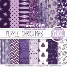 #Christmas #purple #glitter #2015 #Wood #patterns #digitalpaper #snowflakes #navidad #morada #purpura Navidad Púrpura Morado y Dorado Fondos por LagartixaShop