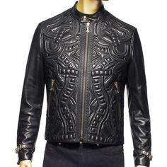 VERSACE* Leather Bomber Jacket